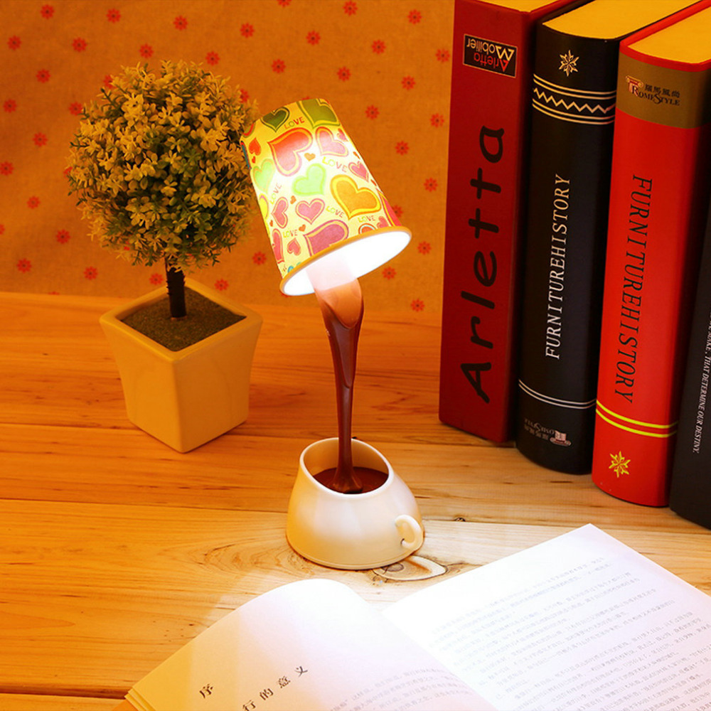 Creative DIY Coffee Cup Lampshade LED Down Night Lamp Home USB Battery Pouring Table Light for Study Room Bedroom Decoration lnhf novelty diy led table lamp home romantic pour coffee usb battery night light