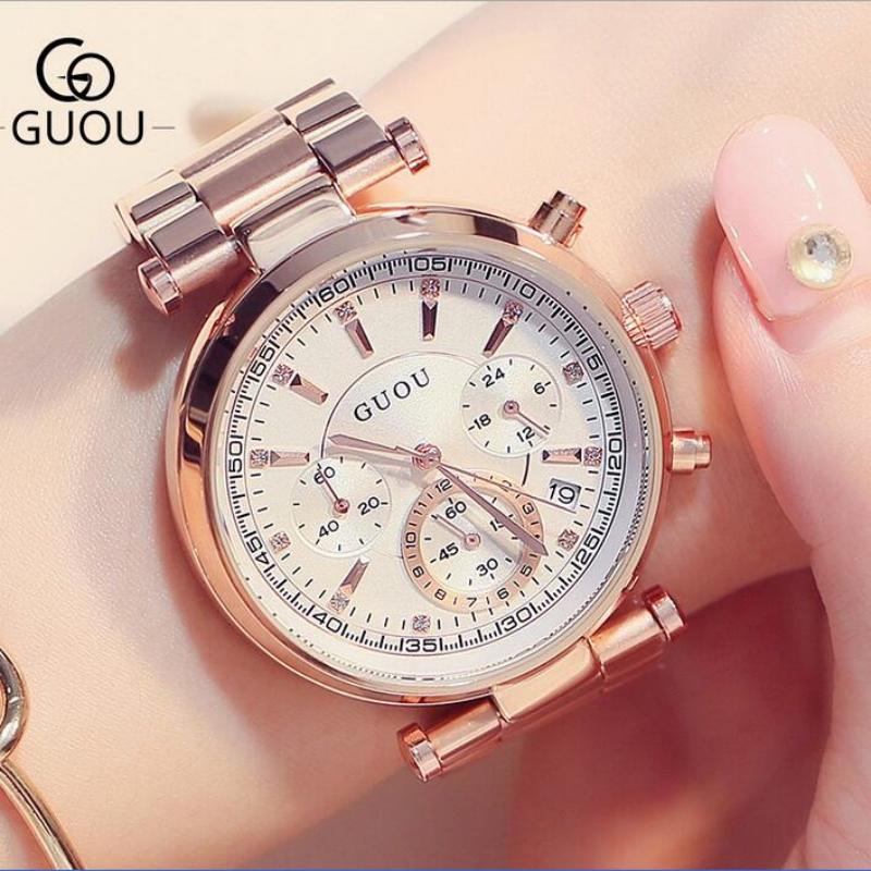 GUOU Brand Luxury Rose Gold Watch Women Watches Auto Date Women's Watches Full Steel Clock Saat Relogio Feminino Montre Femme sinobi ceramic watch women watches luxury women s watches week date ladies watch clock montre femme relogio feminino reloj mujer