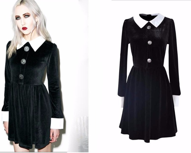 Fashion Ladies Long Sleeve Turn Down Collar Gothic Style Vintage Velvet A Line Dress