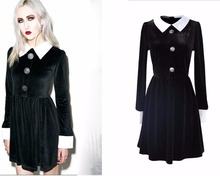 Fashion Ladies Long Sleeve Turn Down Collar Gothic Style Vintage Velvet A Line Dress