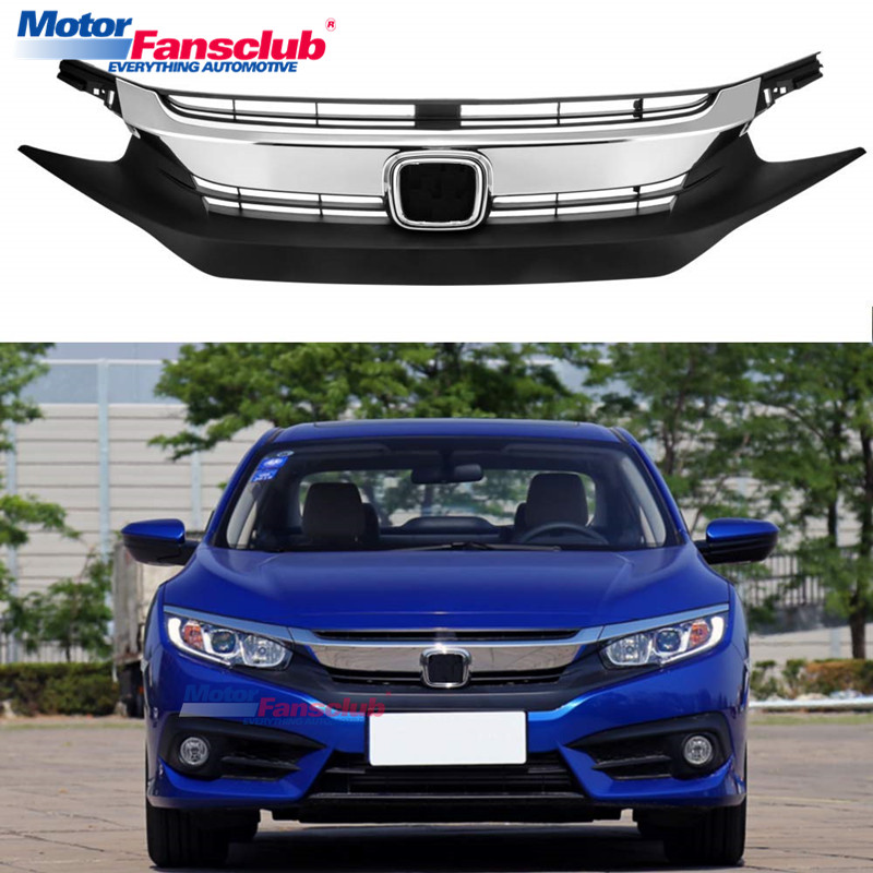 1pc Car Racing Grille For Honda Civic Grill 2016 2017 Chorme Radiator Mesh Honeycomb Auto Front Hood Bumper Modify Abs Material In Racing Grills From