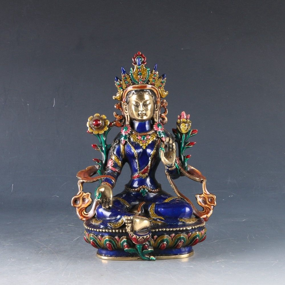 12 ''chine Tibet Bronze cloisonné travail manuel sculpté Bodhisattva Tara bouddha Statue métal artisanat décoration de la maison