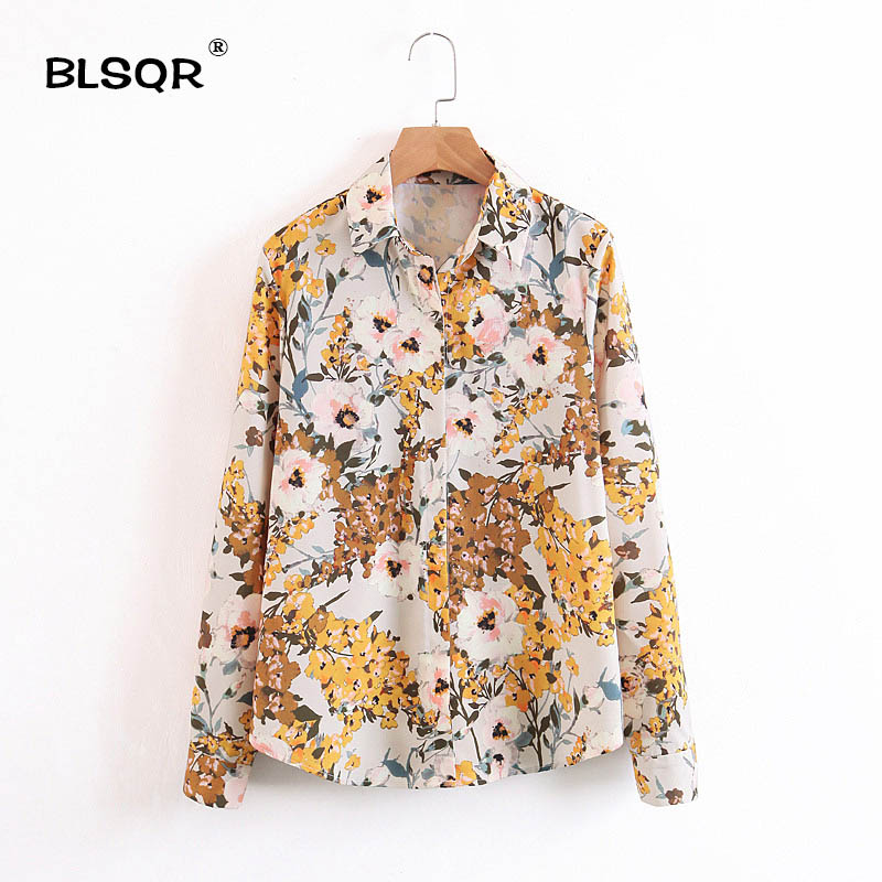 BLSQR Women Floral Print Blouse Tops Vintage Autumn Clothing Casual Turn down collar Shirts Button Full