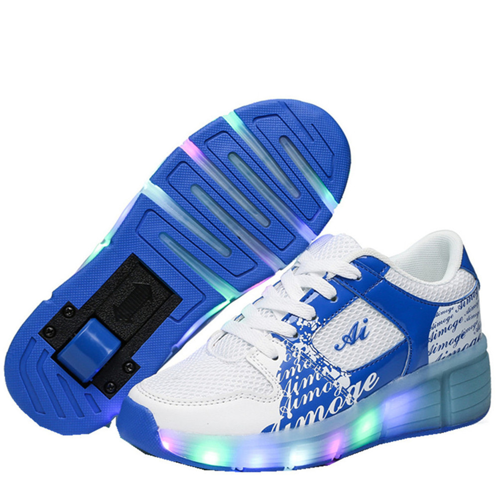 Runaway Shoes Mesh New LED Light Heelys Up Youth Roller Skates Light Adult Adult Children's Shoes Roller Shoes with Wheels pro quality roller skates shoes cotton fabric full set adult breathable roller skate skating shoes with shinning wheels