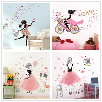 [SHIJUEHEZI] Cartoon Fairy Girl Wall Stickers DIY Butterflies Flowers Mural Decals for House Kids Room Baby Bedroom Decoration