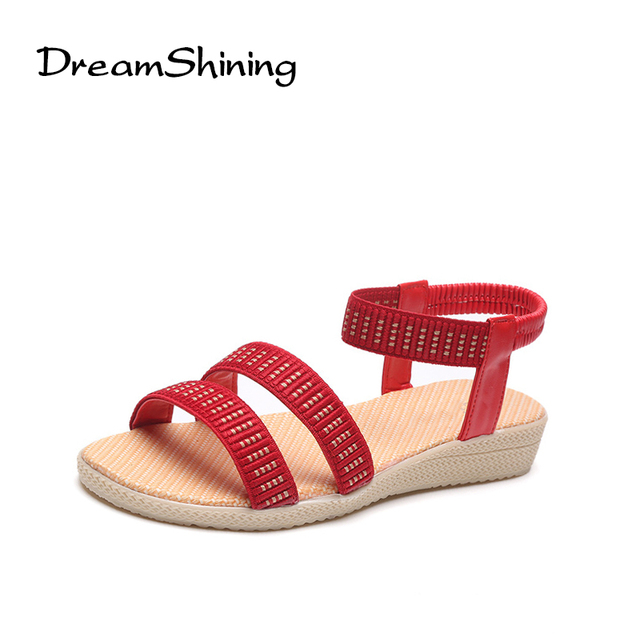 c976fe83d0e DreamShining Simple Sandals Female Summer Students Slip With Flat Sandals  All-Match Muffin Leisure Korean Tide Women Sandals