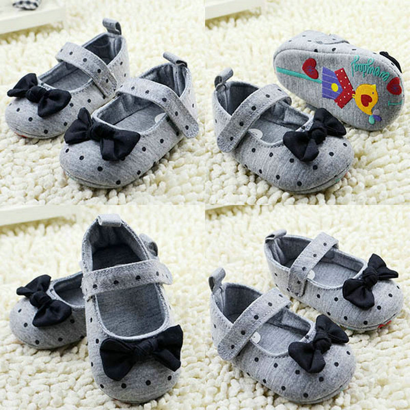 Bow-knot New Infant Baby Anti-Slip Soft Cotton Dot Shoes Moccasins Newborn Girls Booties for Newborn Available 0-18 Months
