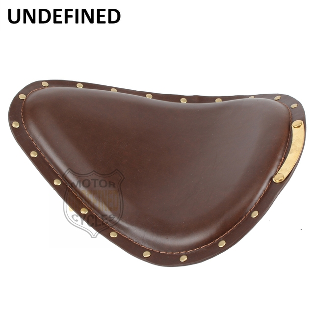 Motorcycle Accessories Brown Leather Copper Rivet Vintage SOLO Driver Seat For Yamaha Honda Suzuki Kawasaki UNDEFINED