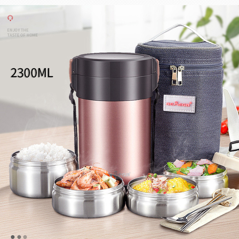 4 Layers Thermal Lunch Boxes 304 Steel Insulated Portable Bento Box for Students Kids School Outdoor Picnic Food Storage