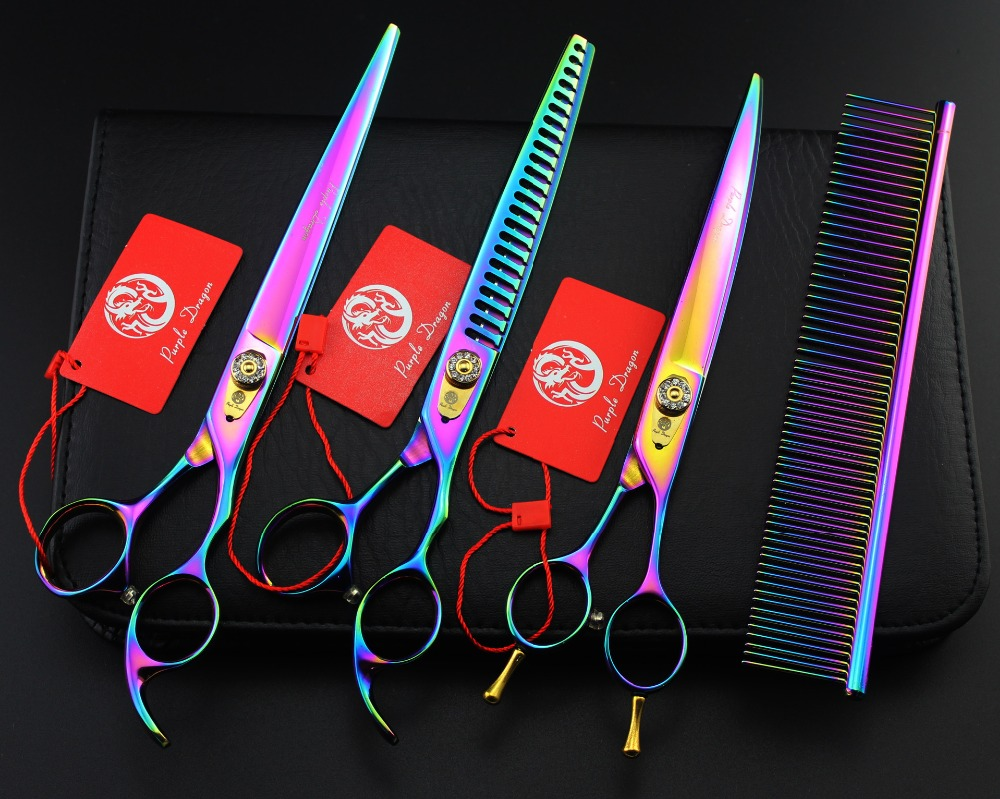 Purple Dragon High Quality Professional Pet Grooming Scissors Sets 8 Inch,Cutting & Thinning & Curved Scissors For Dog Grooming цена