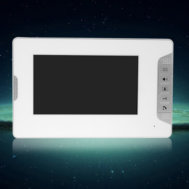 7 inch TFT Color Video Door Phone Video Monitor Screen Indoor Station Without IR Camera For DIY Intercom System V70E-White Color