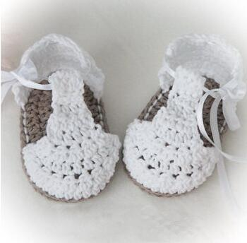 fa55798a90d4c US $7.36 8% OFF Crochet baby sandals, newborn gladiator sandals,baby girls  slippers shoes, gray, white, flower pink 0 12months, baby shower gift-in ...