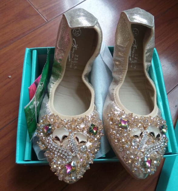 Rhinestone Point Toe Foldable Shoes Elegant Cool Animal Designer Crystal Flat Shoes font b Woman b