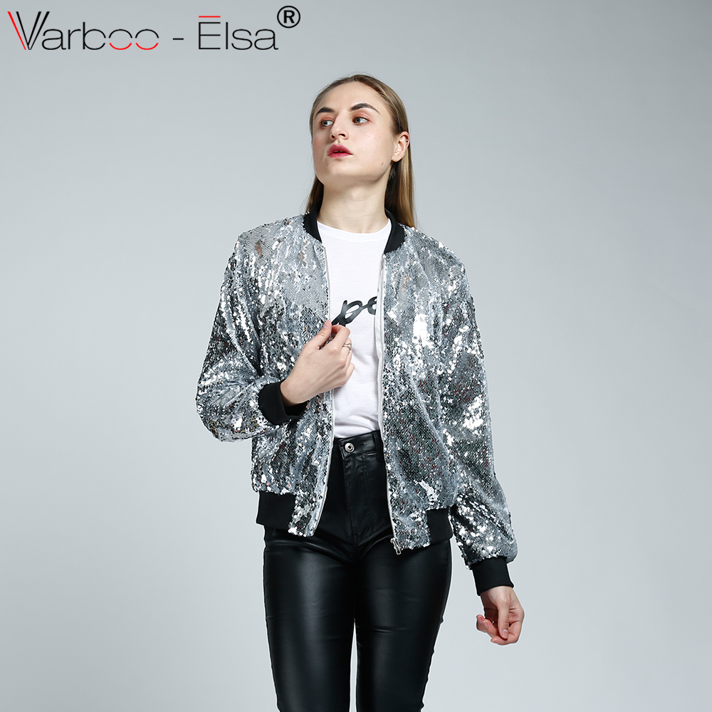 VARBOO_ELSA 2018 Boyfriend Wind Zipper Outwear Fashion Silver Sequined Long Sleeve Coat Glitter Short Tops Spring Women Jacket