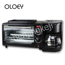 Multifunctional Three-in-one Breakfast Machine Electric Oven Coffee Grilled Overheating Protection Stainless Steel Black