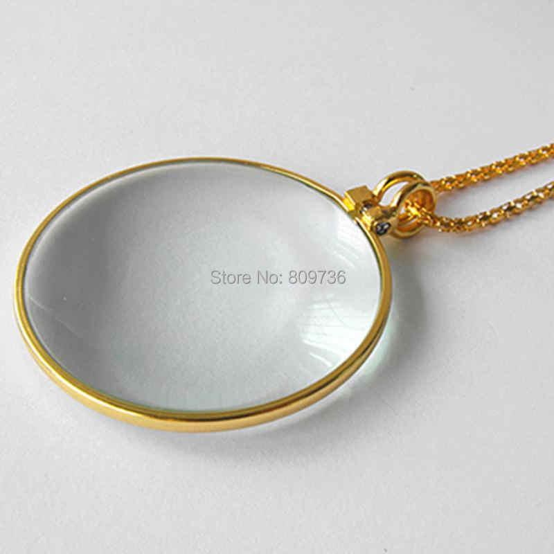 装飾モノクルネックレス 5x 拡大鏡ガラスペンダントゴールドとシルバーメッキチェーンネックレス女性のためのジュエリー