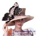 Kueeni Mujeres Iglesia Champán Sombrero Sombrero Grande Piedras Para Ocasiones Especiales Cubiertas De Diamantes Bowknot Grande Elegante de Señora Sombreros Iglesia
