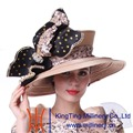 Kueeni Women Church Hat Champagne Big Hat Stones Special Occasion Diamond Casings Big Bowknot Elegant Lady Wedding Church Hats