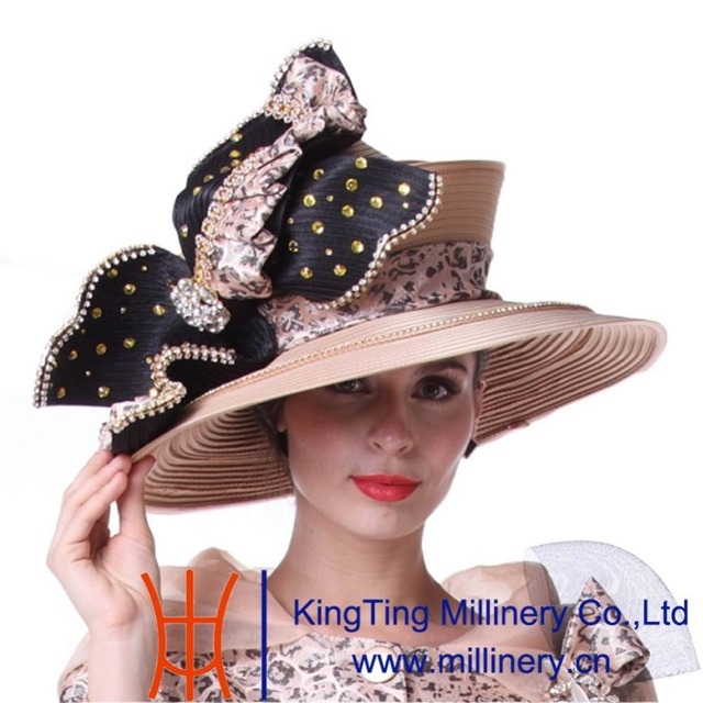 Kueeni Women Church Hat Champagne Big Hat Stones Special Occasion Diamond  Casings Big Bowknot Elegant Lady Wedding Church Hats 872d9658471