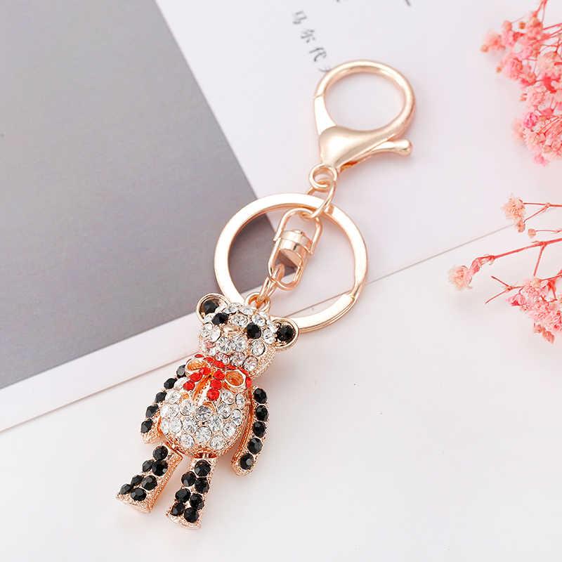 Meng puede ser activo oso llavero regalo exquisito animal modelos 6 colores a todo color cristal llavero regalos damas handba