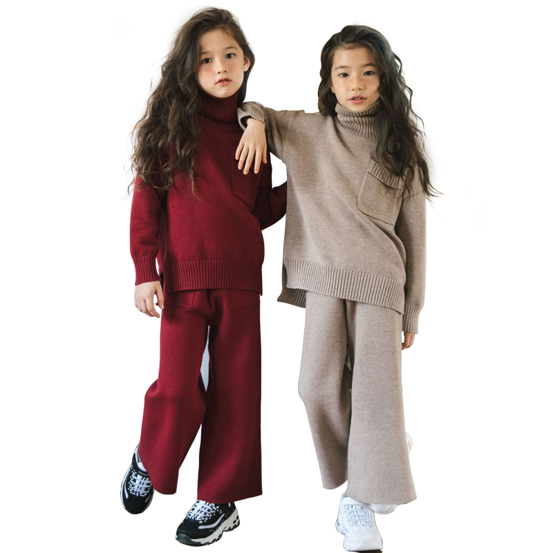 children clothes knit 2pcs set age for 4 - 14 yrs teenage girls winter thick warm school style outfits long sleeve sweater+pants медовник м из чего это сделано
