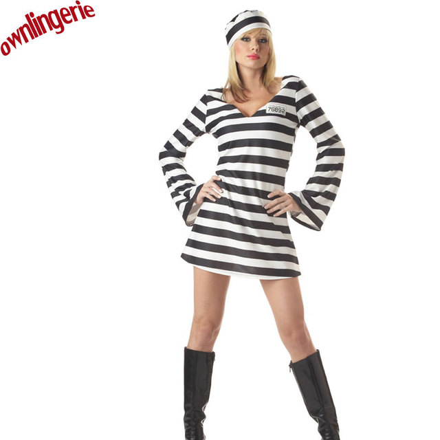 bd17f5f7bf9 Women prisoner costume Carnival Halloween costumes for woman plus size  cosplay costumes feminine party women dresses M