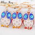 Magic Ikery Gold Plated Rhinestone Crystal Trendy Drip Owl Key Chains bag pendant Wholesales Fashion Jewelry for women MKCH2668