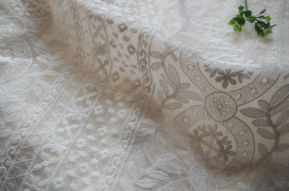 Ivory White Embroidered Organza Lace Fabric Cotton