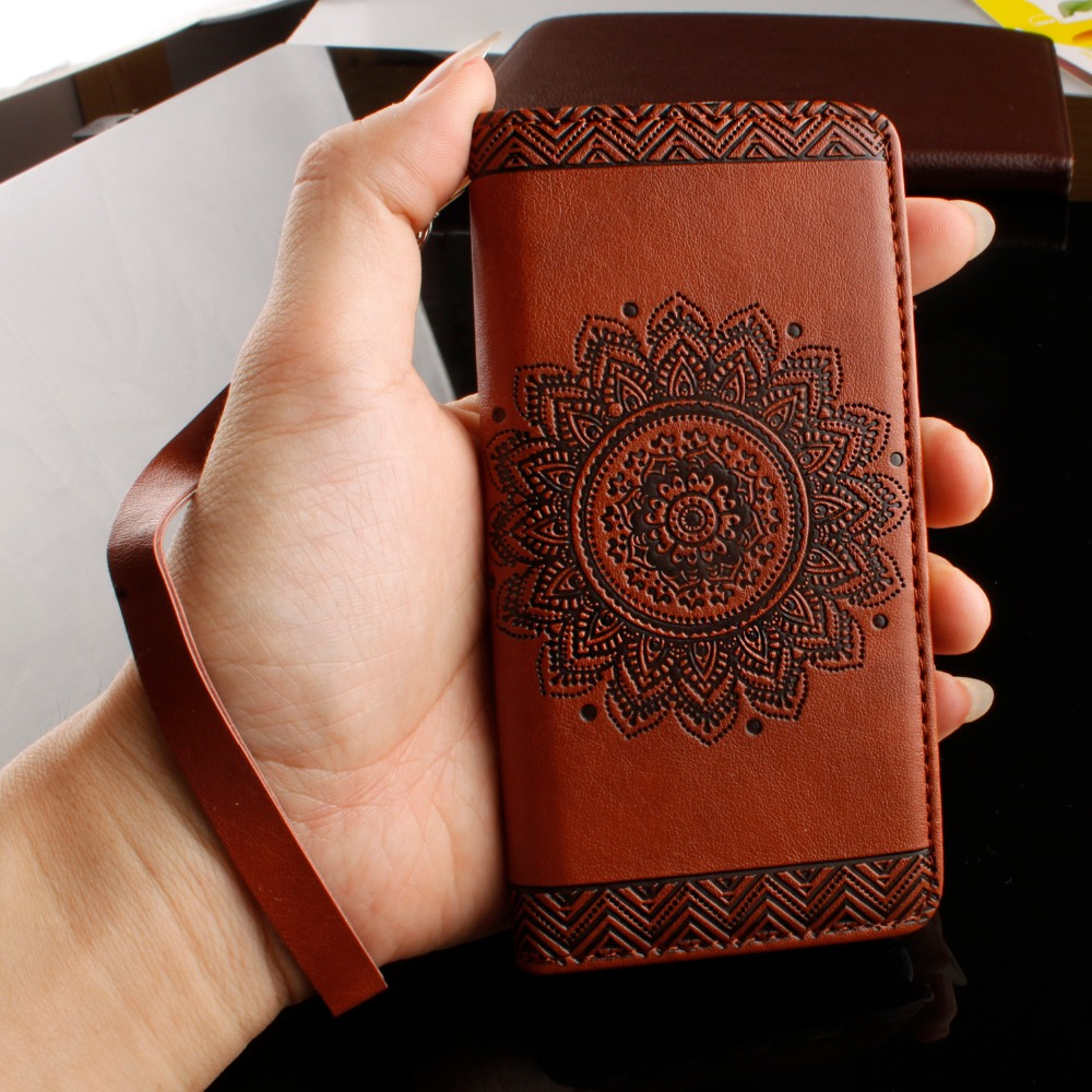 Retro Phone Cases For iPhone 7 6 6s Plus SE 5 5s Case Sunflower Paisley Relief PU Leather Stand Wallet Flip Cover With Card Slot