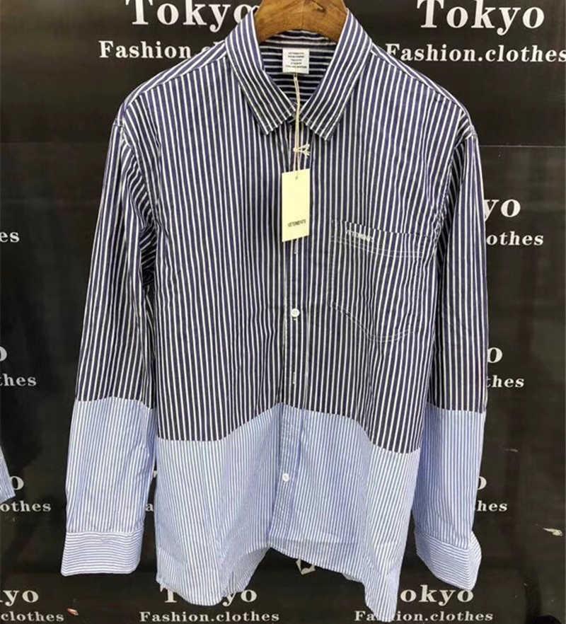 Best Quality Vetements Shirts Blue White Striped Vetements Shirt Oversize Men Women 1:1 Loose Vetements Embroidery Shirt
