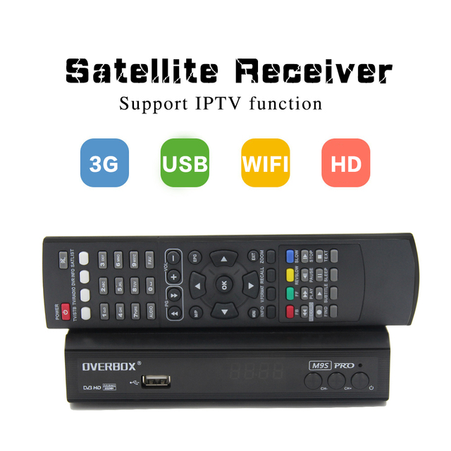 OVERBOX M9S PRO DVB-S2 Satellite Receiver Receptor Support PowerVu Biss Key Free gift cccam Youtube 1080P HD Digita Media Playe