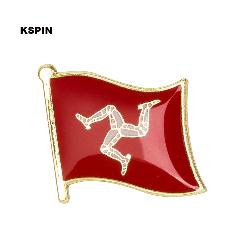 Isle of Man flag badge pin lapel pin 100pcs a lot Brooch Icons KS 0090