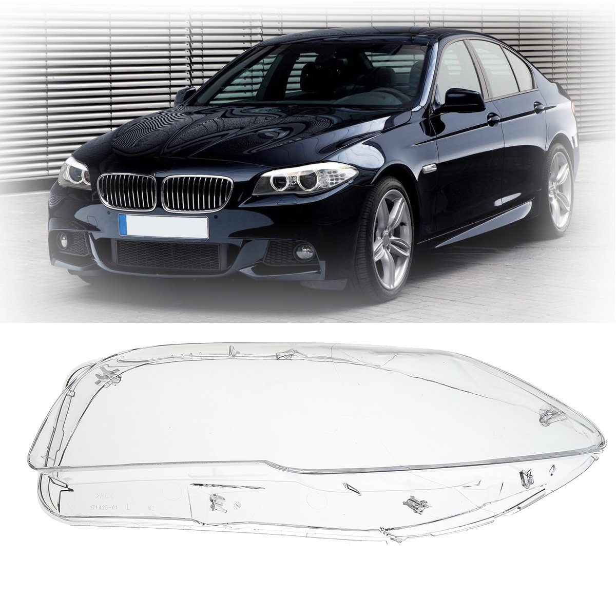 Left/ Right Side Headlight Clear Lens Cover For BMW F10 F18 520 523 525 535 530 2010-2014 1 pair car front right left transparent housing headlight clear lens cover headlamp shell for bmw bmw f10 f18 2010 2015