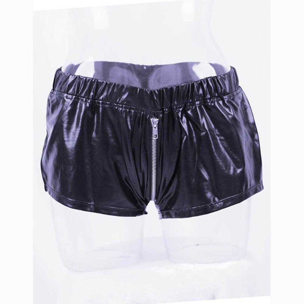 M-XL Male Sexy Leather Erotic Fashion Style Underwear High Quality Comfortable Zipper Men Boxer Shorts Vinyl Panties W850539