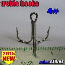2015new fishing treble hooks  size:4#-6#-8#-10# quantity:200pcs/lot color:sliver