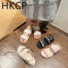 HKCP Fashion women 2019 summer new pearl sandals female flat student tassel wild Roman shoes C373