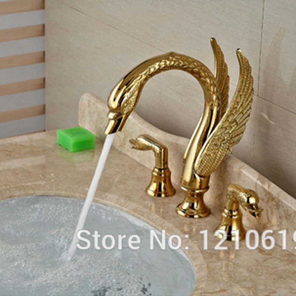 Bathroom sink faucet one hole double handle basin mixer tap ebay - Newly Luxury Gold Plate 3pcs Bathroom Sink Faucet Basin Mixer Tap Swan Style Vessel Faucet Dual