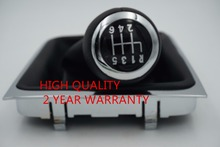 Free Shipping 6 Speed Car Shift Gear Knob Covered Real Leather With Chrome For VW Passat