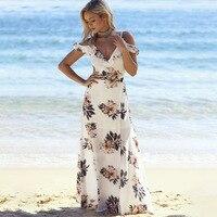 Floral Print Ruffles Long Dress Women Strap V Neck Split Beach Summer Dresses Off The Shoulder