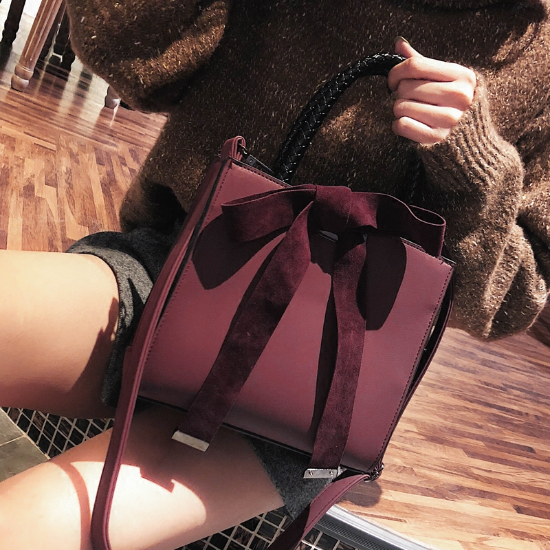 Fashion Female Big Bag 2018 New Women's Designer Handbag Bow Frosted Shoulder Bag Simple High-quality Matte PU Leather Tote Bag