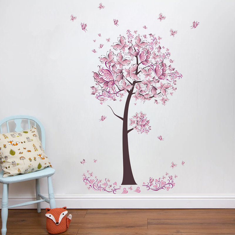 Pink Butterfly Flower Tree Wall Stickers Decals Girls