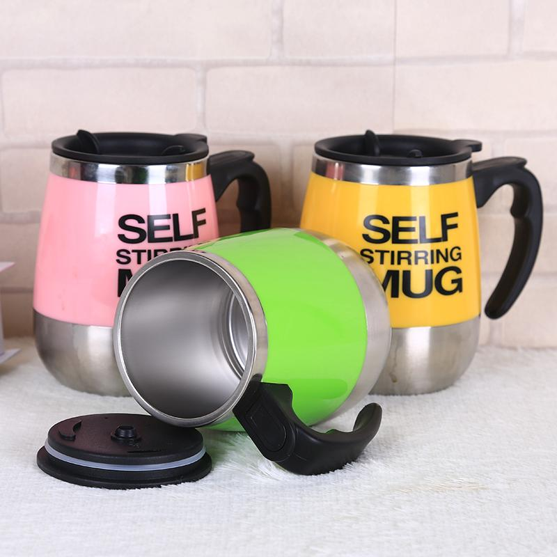 1Pcs Automatic Plain Mixing coffee cup tea Lazy Self strring mug button Pressing travel mug 450ml
