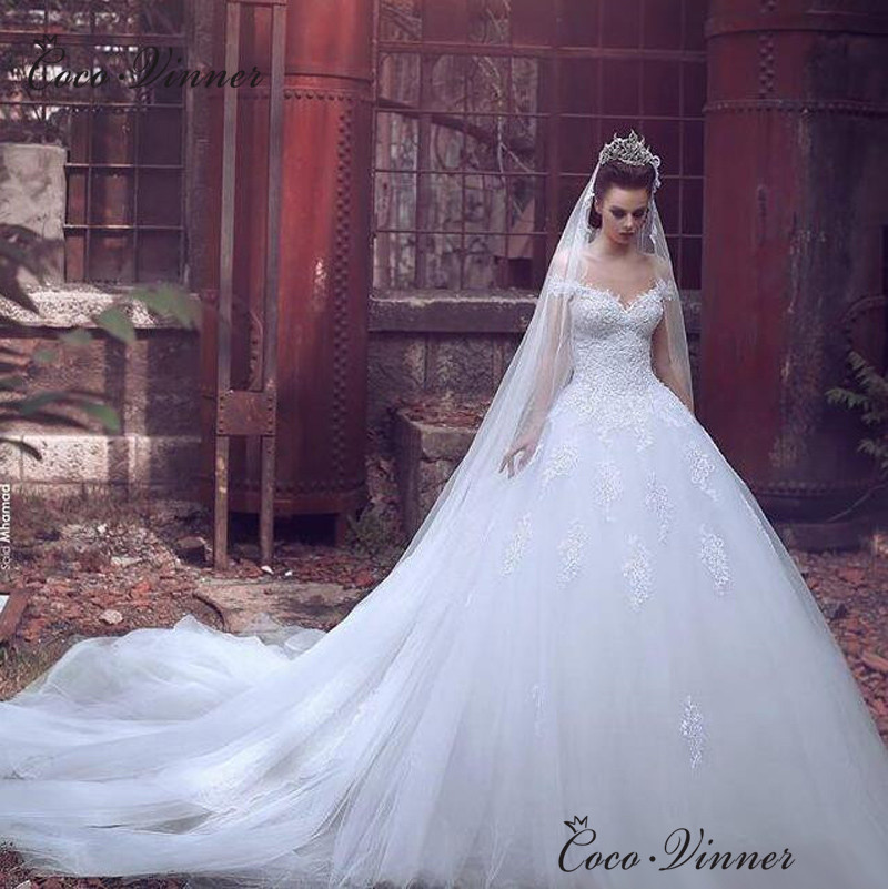 2019 Dubai Arabic Wedding Dresses Lace Appliques Off: Dubai Arab Ball Gown Wedding Dresses Cap Sleeve Embroidery