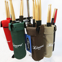 Drum Stick Holders With Adjustable Solid Metal Hoop Mounting Bracket Portable Multi Canvas Drumsticks Bag Case