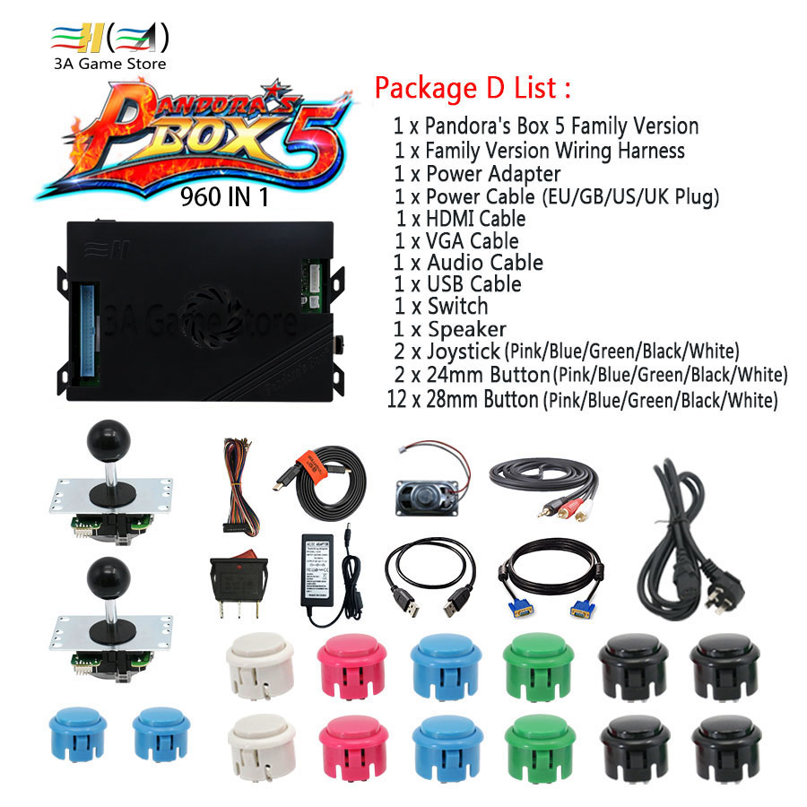 Pandora Box 5 960 Family Version Motherboard with Control Accessories DIY arcade kits parts joystick usb button power supply kit pandora box 4s 2 player arcade console for home 815 in 1 family game consoler with 5 pin 8 way joystick lock button hdmi vga out