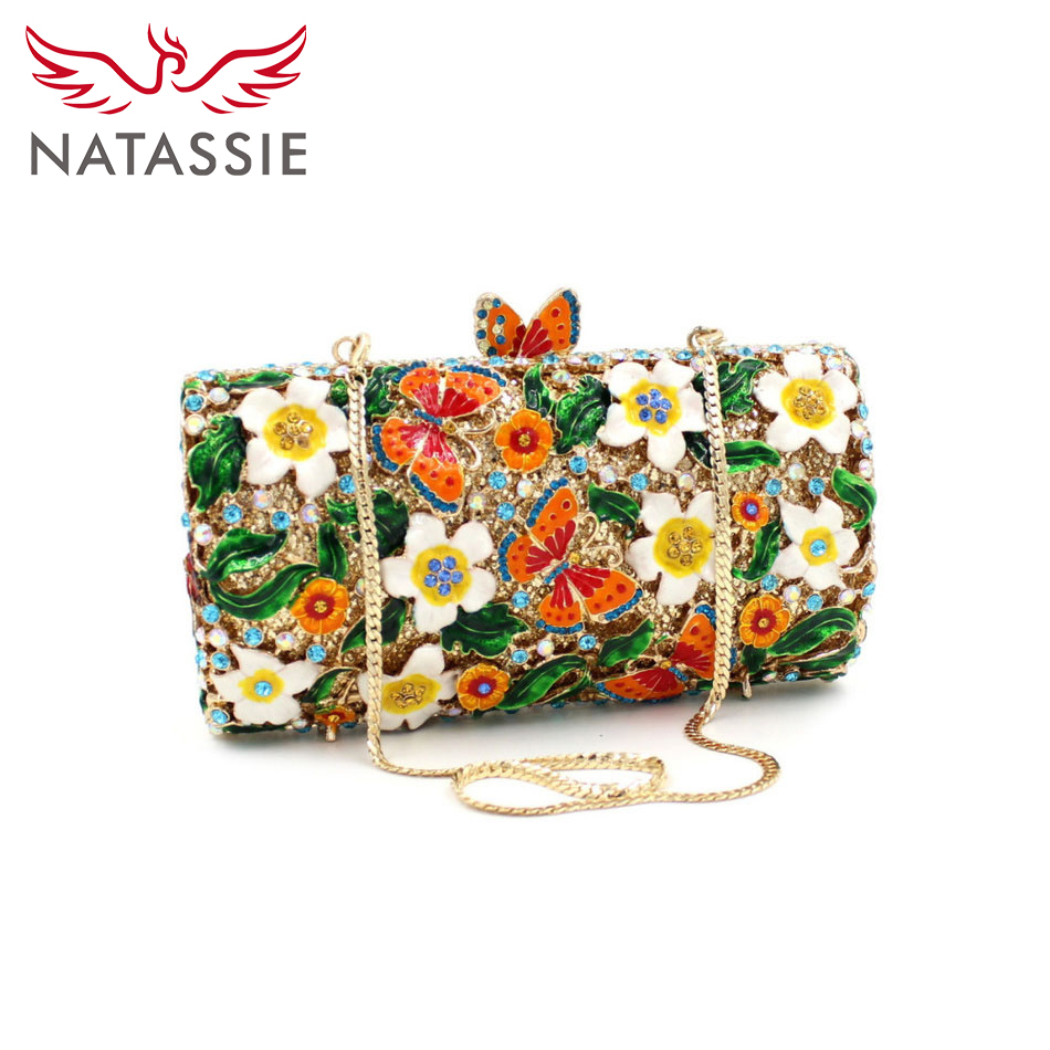 ФОТО NATASSIE New Women Crystal Clutch Handbag Evening Bag Flowers and Butterflies Wedding Party Clutch Purse Diamonds Bag LX020