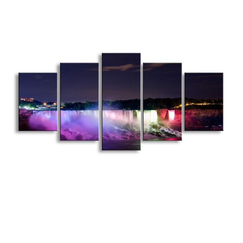 5 pieces high-definition print lake Lights waterfall canvas oil painting poster and wall art living room picture PL5-214