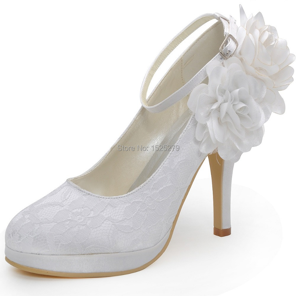 цена на White Ivory EP2132-PF Women Bride Bridesmaids Bridal Pumps Evening Party Platforms High Heel Flowers Buckle Lace Wedding Shoes