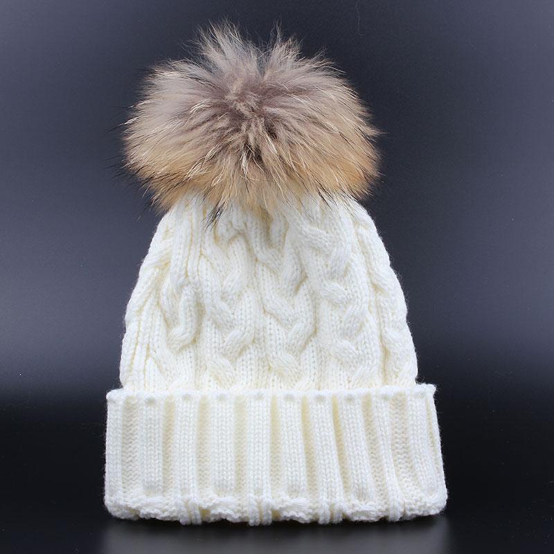 ФОТО Winter Girls hat Skullies Beanies Real Fur Pompom Child Hat for Children Cap Bonnet Enfant Hats For Girls Boys Cap Beanie