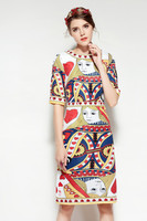 2018 Spring Runways Playing Cards Print A Line Dress High Quality Brand Design Women S Dress
